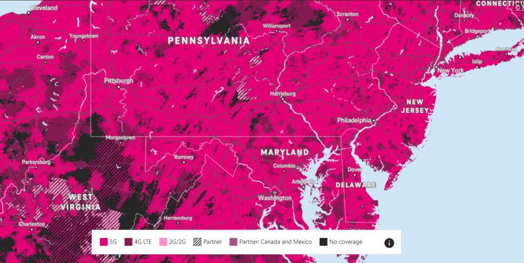 Skvělé 5G pokrytí amerického T-Mobile, zde v detailu